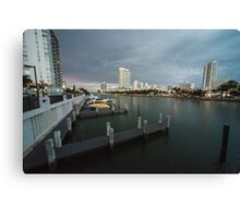 Miami beach canal dusk  Canvas Print