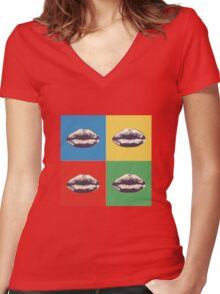 Lips Andy Warhol sticker Women's Fitted V-Neck T-Shirt
