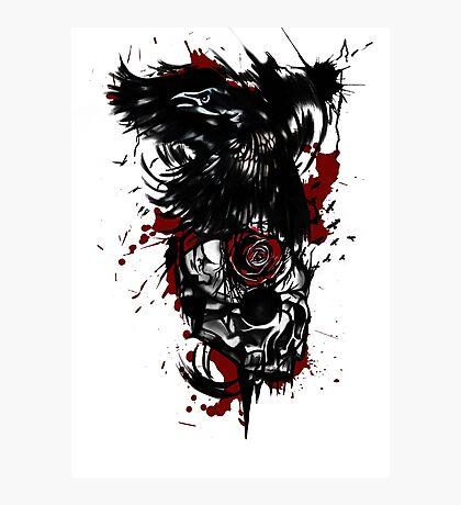 Trash polka raven and skull  Photographic Print