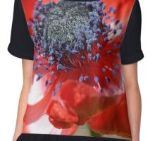 Red Anemone Flower Close Chiffon Top
