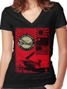 flying tigers Women's Fitted V-Neck T-Shirt