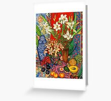 Lilies, Heliconias & Tropical Fruit Greeting Card