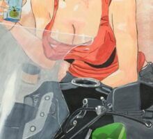 Motorcycle girl Sticker