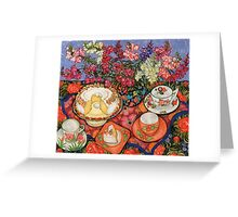 Cake and Snapdragons Greeting Card