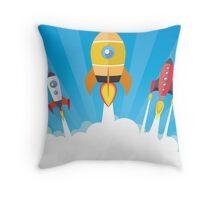 cartoon spaceships launch Throw Pillow