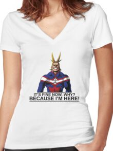 All Might anime manga shirt Women's Fitted V-Neck T-Shirt
