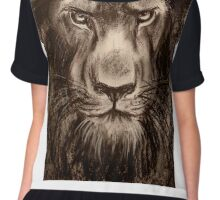 Lion - Charcoal drawing of a Lion Chiffon Top