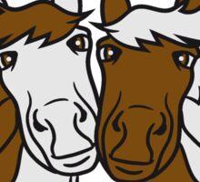 2 horse friends some love in love face cute sweet head beautiful horse pony stallion riding white comic cartoon Sticker