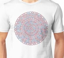 diamonds mandala red and blue abstract digital artwork Unisex T-Shirt