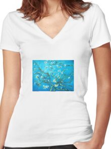 Almond blossoms  Vincent Van Gogh Women's Fitted V-Neck T-Shirt