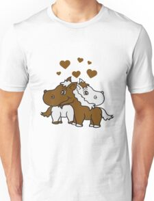 2 couple couple hearts love love sibling sweet little cute pony horse pferdchen child, baby girl, riding Unisex T-Shirt