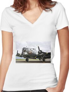 B-17 Bomber Airplane  Women's Fitted V-Neck T-Shirt
