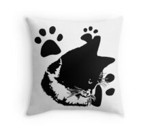 Cat with paws Throw Pillow