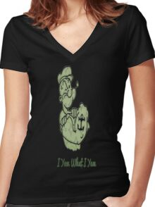 Green Pattern Popeye Women's Fitted V-Neck T-Shirt