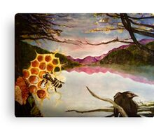 Busy Bee and Crow Over Mountain Landscape Canvas Print