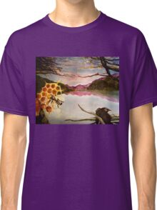 Busy Bee and Crow Over Mountain Landscape Classic T-Shirt