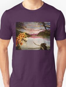 Busy Bee and Crow Over Mountain Landscape Unisex T-Shirt