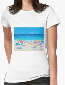 Beach painting - Last Day of Summer Womens Fitted T-Shirt