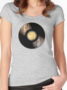 Vintage Vinyl Record Rust Texture - RETRO MUSIC DJ! Women's Fitted Scoop T-Shirt