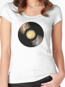 Vintage Vinyl Record Rust Texture - RETRO MUSIC DJ! Women's Fitted Scoop T-Shirt
