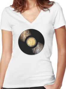 Vintage Vinyl Record Rust Texture - RETRO MUSIC DJ! Women's Fitted V-Neck T-Shirt