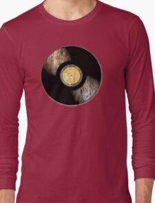 Vintage Vinyl Record Rust Texture - RETRO MUSIC DJ! Long Sleeve T-Shirt