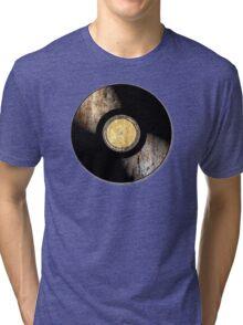 Vintage Vinyl Record Rust Texture - RETRO MUSIC DJ! Tri-blend T-Shirt