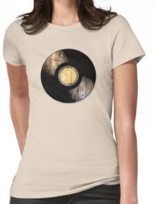 Vintage Vinyl Record Rust Texture - RETRO MUSIC DJ! Womens Fitted T-Shirt