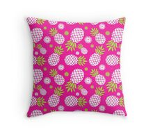 Pineapple and daisy repeat graphic pattern Throw Pillow
