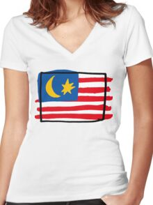 Malaysia Women's Fitted V-Neck T-Shirt