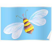 Cute honey bee whimsical watercolor art Poster