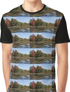 Red Maple - Still Forest Lake in the Fall Graphic T-Shirt