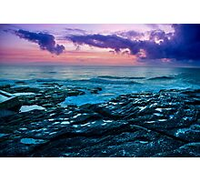 Cloudy Sunrise Over The Ocean Photographic Print