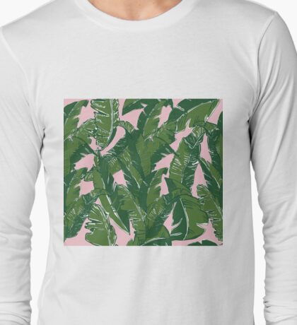 Leaves Bananique in Pink Conch Long Sleeve T-Shirt