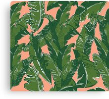 Leaves Bananique in Fresh Salmon Canvas Print