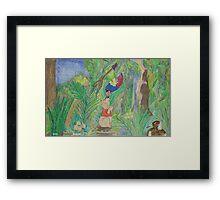 Puppy meets Rainbow Lorikeet  Framed Print
