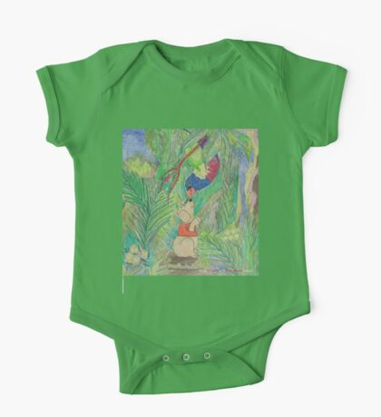 Puppy meets Rainbow Lorikeet  One Piece - Short Sleeve