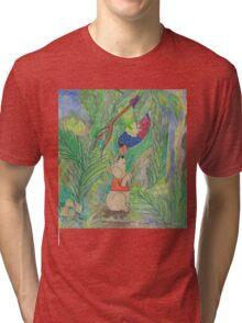 Puppy meets Rainbow Lorikeet  Tri-blend T-Shirt