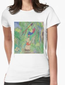 Puppy meets Rainbow Lorikeet  Womens Fitted T-Shirt