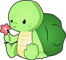 Cute Baby Turtle Vector Drawing by LyddieDoodles