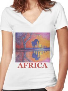 African Landscape with Elephant Women's Fitted V-Neck T-Shirt