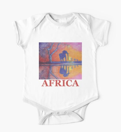 African Landscape with Elephant One Piece - Short Sleeve