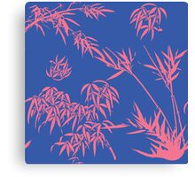 Bamboo Silhouettes in China Blue/Coral Reef Canvas Print