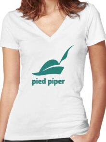 Pied Piper 3.0 Logo - Silicon Valley - New Logo - Season 3 Women's Fitted V-Neck T-Shirt