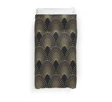 art deco,faux gold,black,chic,vintage,elegant,shell pattern Duvet Cover