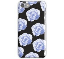 Blue roses on a black background iPhone Case/Skin