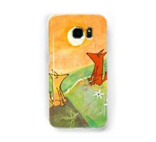 two dogs on a green hill Samsung Galaxy Case/Skin
