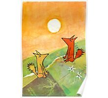 two dogs on a green hill Poster