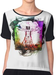 Colorful Grunge Vitruvian Man - Leonardo Da Vinci Tribute Art T Shirt - Stickers Chiffon Top