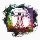 Colorful Grunge Vitruvian Man - Leonardo Da Vinci Tribute Art T Shirt - Stickers by Denis Marsili